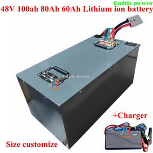 Стальной корпус 4 100ah 80Ah 60Ah литий-ионный аккумулятор с BMS для лодки motohome Солнечной системы RV + 10A Charger