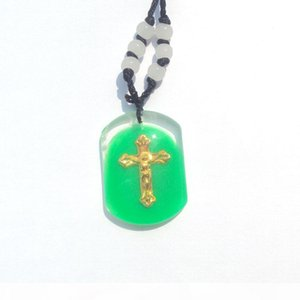 E Real 14 K Fine Yellow Solid Gold Jesus Crucifix Multi -Color Inlaid With Jade Glaze Cross Religious Pendant Black Rope