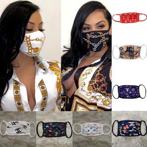 Tasarımcı Yüz Karşıtı Toz Ultraviyole dayanıklı Ağız-mufla Erkekler Kadınlar Yüz Maskeleri Lüks Harf Marka Koruyucu Yıkanabilir Yüz Maskesi yazdır Maske
