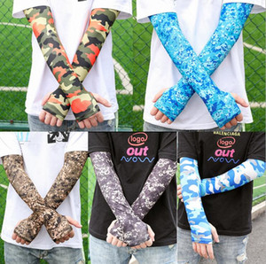 Sleeve Cuffs Summer Camouflage Ice Sllk Sleeves Cuffs Outdoor Riding Fishing Sun Protection Arm Sleeve Men Women Protection Sleeve LSK217