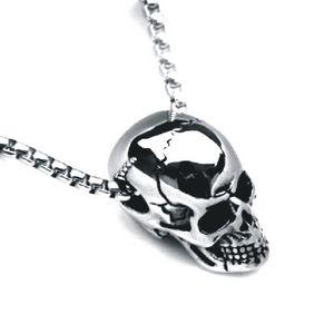Fashion Long Titanium Steel Three-dimensional Skull Pendant Necklace Men Hip Hop Popular Personality Men's Jewelry 2020 New Hot