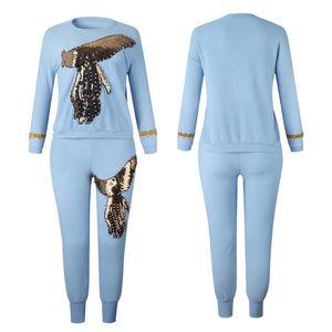 Siskakia 2020 High elastic RIB Cotton Sequin Diamond Plus Size Women Suit Set African O Neck Long Sleeve Tops with Long pants