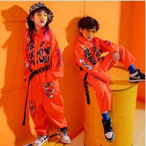 Cool Kids manches courtes Hip Hop Vêtements oranges Jumpsuit pour Salopette Filles Garçons Jazz Danse Costume Salle de bal Vêtements de danse