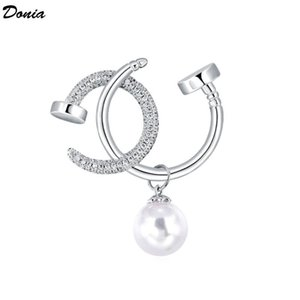 Donia jewelry European and American popular letter Brooch copper micro inlaid zircon Pearl Brooch gift Brooch Christmas coat scarf accessori