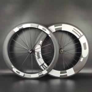 HED 700C 탄소 도로 바퀴 전면 후면 60mm 90mm 깊이 25mm 폭 클린 / 튜브리스 / 통 바퀴 UD 탄소 매트 마무리