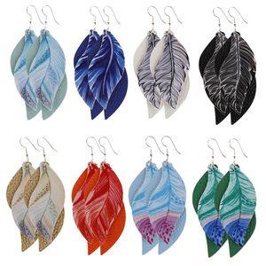 Fashion Leaves PU Leather Earring Dangle Multilayer Leaf Leather Charm Pendant Earring Printed Feather Ear Hook Eardrop Women Jewelry Gifts