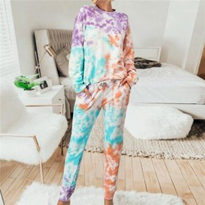for Women Casual Long Sleeve O Neck Loose 2 Piece Outfits New Women Clothing Tie Dyed Two Piece Sets