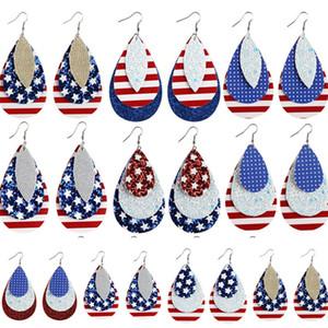 8 Fashion Color PU cuero pendiente de la bandera americana en forma de lágrima pendiente cuelgan de impresión para Día de la Independencia pendiente 500pairT1I2211