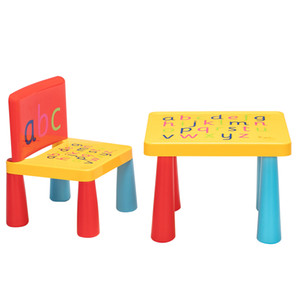 Hot Children's Tables and Chairs Alphabet Children's Toys Tables and Chairs Plastic Furniture Red&Yellow&Blue US Stock