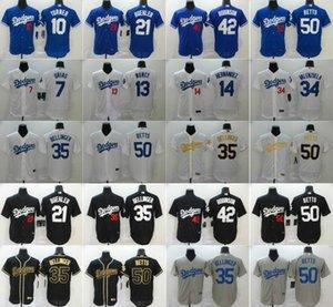 Dodgers Men 2020 Baseball New 50 Mookie Betts Jersey 35 Cody Bellinger 10 Justin Turner 13 Max Muncy 22 Clayton Kershaw Enrique Hernandez 07