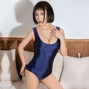 Traje atractivo caliente japonesa de Kawaii brillante traje de baño de la cremallera de la entrepierna del mono de baño de cuerpo superior Apretados de baño mujeres traje de natación