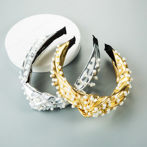 Top Knot Turban Stirnband-elastische Lederhaarband Perlen-Haar-Zusatz-Mädchen kein Beleg geknotete Hauptband-Haar-Band für die Dame