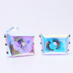 2020 Großhandel falsche Wimper Verpackung Box Bulk-Gewohnheit Holographic leeren Mink Lash Paket-Fall Wimper Box Verpackung Beutel
