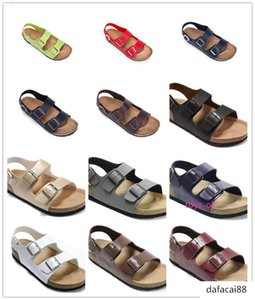 Designer 24 Colors Brik Arizona summer beach Men Women flats Cork sandals casual slippers with Buckle Open-toed Genuine shoes