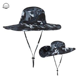 Nuevo verano Camo pescador ocasional de cubo que acampa yendo de viaje de pesca Montañismo Sombrero Sombrilla Bonnie sombrero para unisex