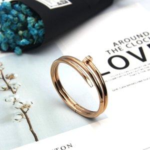 Hot sale Titanium steel bracelet personalized double ring nail activity Open couple bracelet female student bracelet