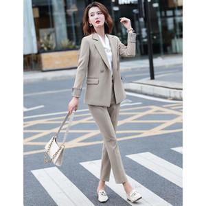 Office Work Pant Suits Women Suit Business Lady Uniform Female 2 Piece Set Blazer Pants Jacket Autumn Winter 2020 Large Size 4XL