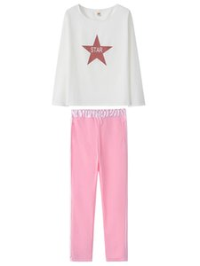 Fashion Casual Women Two Piece Set Ladies Star Letter Print Sports Sets White Sweatshirts Pink Pants 2pcs Sets Sportwear Matching Set