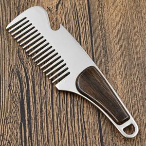 Herramientas de corte para hombre de la barba peine peine de bolsillo portátil de afeitar de acero masculino bigote de cepillo de pelo de peluquería Estilismo