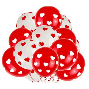 100шт / серия 12 дюймов Белый Красный латексные шары Печатается с любовью сердце День Святого Валентина Свадьба День рождения партии украшения сада