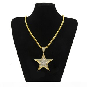 Y Hip Hop Necklace Gold Plated Star Full Cz Bling Pendant Necklace 3mm 5mm 30inch Rope Cuba Chain Fashion Jewelry