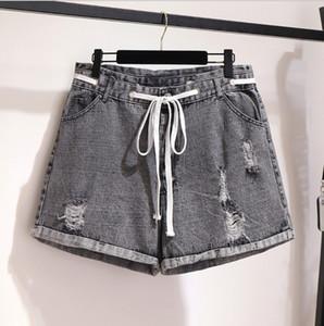 Женщины Summer Shorts Плюс Размер Свободный Denim Jeans Sexy Ripped Hole Струны девушка вскользь Горячий короткий седой