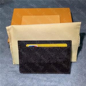 Mens Card Holder Package Package Coinse Counre France Женщины Пары Холст Коричневый Клетчатый Черный Плед Холст Кожа с коробкой