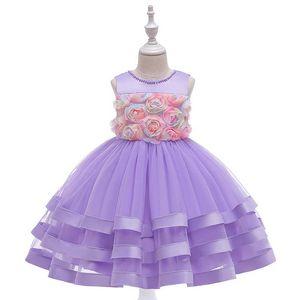 2020 new rose flower girls dresses for wedding Tutu kids dresses princess dress birthday party dresses formal dress retail B1534