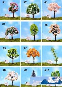 100pcs Mix artificiais mini-árvores Willow Sakura miniaturas de fadas jardim mini-terrários estatuetas para decoração de jardim atacado