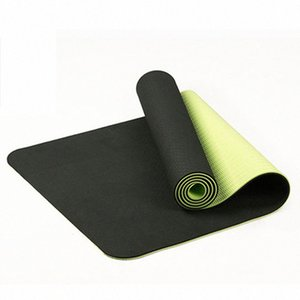 6мм Tpe двухцветного Non-Slip Мат для йоги Спорт Мат 183x61Cm Gym Главная Фитнес Tasteless 07W4 #
