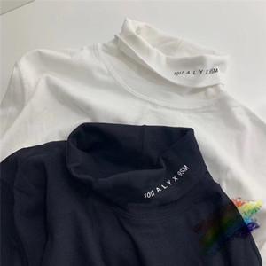 Turtleneck tişört Kadın Erkek 1 Yüksek Kalite Uzun kollu Siyah Beyaz T shirt Tee