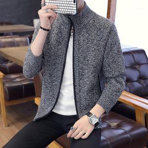 Oberbekleidung Frühling und Herbst Kleidung Solid Color Männer Designer Pullover Stehkragen Offener Stich Mens