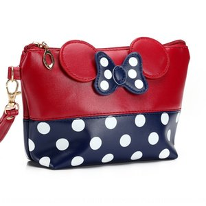Hot bow makeup round dot Hand Pu Cosmetic hand handbag hand bag