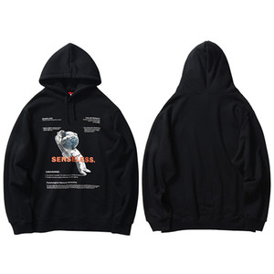 2020 Hip Hop Harajuku Streetwear Hoodie Astronot Baskılı Erkek Kazak Pamuk Fleece Kapşonlu Kış Siyah Sweatshirt