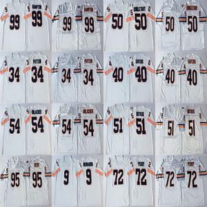 Fútbol para hombre cosido jerseys NCAA 51 Dick Butkus Jersey 54 Brian Urlacher 72 William Perry 95 Richard Dent 99 Dan Hampton retro blanco