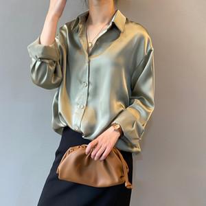 Ebaihui femmes Chemisier Mode Ladies de bureau élégant Hauts Casual en mousseline de soie Chemise Femme manches longues Tunique Femme Printemps Automne 2020 Blusas