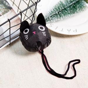 Bolsas uggage Black Cat Eco-friendly Ladies presente dobrável sacola reusável bonito Forma Owl animal Folding Shopping Bag portátil Viagem Sh ...
