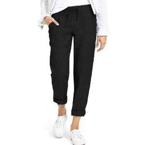 Marka Gevşek Pamuk Keten Pantolon Kadınlar Yumuşak Gevşek Spor Pantolon Nefes Ayak bileği uzunluğu Pantolon Kore Boş Spor Yaga