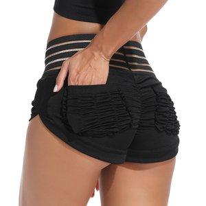 FITTOO atractivo de cintura alta pantalones cortos de algodón mujeres de verano empuja hacia arriba el Hip aptitud Mujeres Pantalones cortos con bolsillos flacos