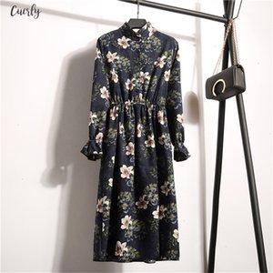 2020 Autumn Winter Women Long Sleeve Corduroy Polyester Dress Casual Elastic Waist Stand Neck Floral Party Dress Female Dress Vestidos