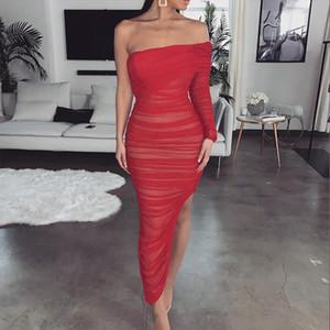 Femmes Sexy robe de soirée mode Slash cou une épaule manches longues maille Robes Robe moulante à volants de Split