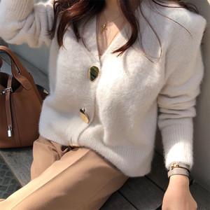 Botón de oro brillante FMFSSOM solo pecho mujeres de lana suéter de las rebecas Hembra ocasional caliente elegante otoño invierno