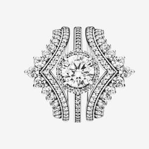 Mulheres Top Moda Anel de Casamento Conjunto CZ Diamante Princesa Anel de Princessos com Caixa Original para Pandora Real Esterlina Prata Anéis de Noivado de Prata