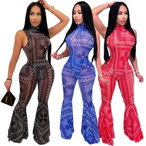 Gorgeous Printing Women Flare Two-pieces Sets Fashion TotemPattern High Neck Bodysuit Top and High Waist Trousers Nightclub Party Outfits