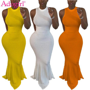 Adogirl Women Solid Ribbed Fishtail Maxi Dress Summer Casual Sleeveless Bodycon Long Mermaid Vestidos Elegant Patry Dress