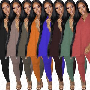 Summer Women Tracksuit Short Sleeve Top Tee Split Shirt+ Leggings Pants Two-piece Clothing Suit Solid Colors Club Party suits New D7804