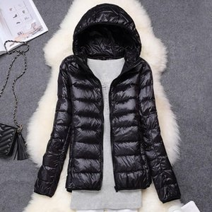 2020 Down Jacket Women Hooded Duck Down Ultra Light Portable Autumn Winter Female Large Size Coat Solid Warm Basic Jackets Woman