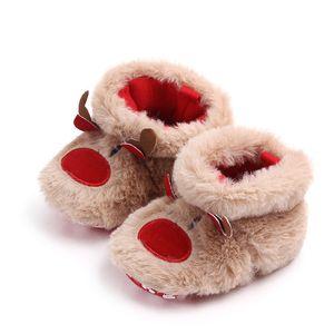 Enfant en bas âge d'hiver Garçons Filles Gardez chaussures chaudes Muply de Noël Elk Première étape Chaussures anti-dérapant infantile tout-petits Fille Chaussures