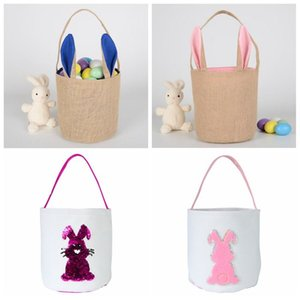 Easter Bunny Bucket Candy Bags Easter Lucky Egg Basket Fashion Rabbit Printed Sequins Easter Kids Handbag Baby Toy Storage Bags WY443B-1