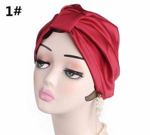 Satén de las mujeres de seda del Bowknot turbante sombrero Headwear del capo Chemo Gorros tapas de las cabezas cubiertas Wrap R309